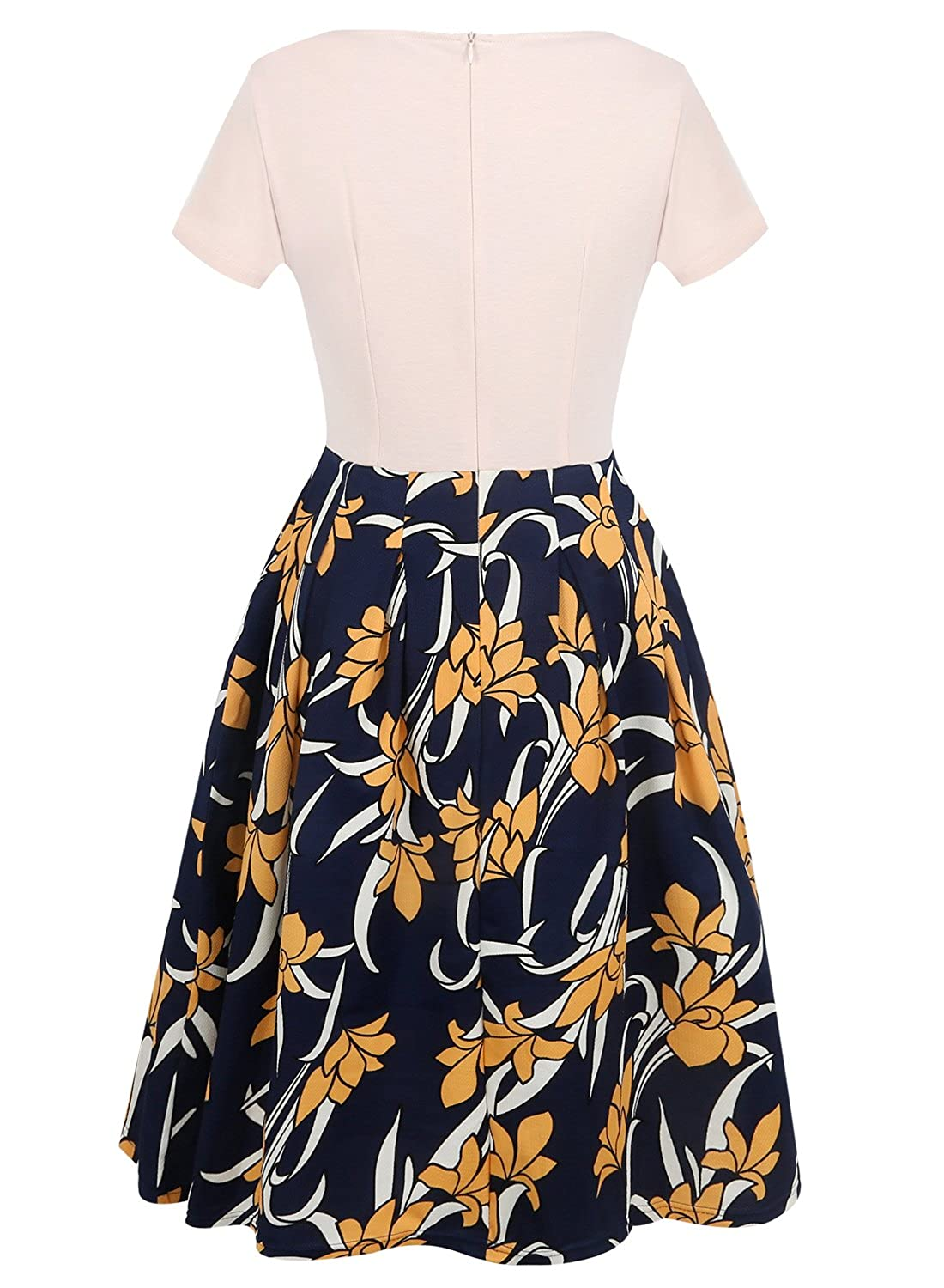 Oxiuly Womens Vintage Patchwork Pockets Puffy Swing Casual Party