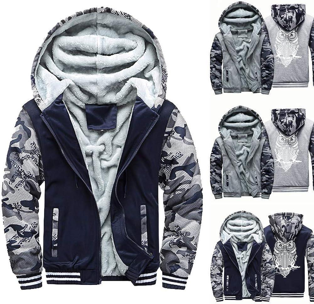 YKARITIANNA Mens Jackets /& Coats 2019 New Spring with Pocket Solid Zipper Hooded Jacket Top Coat Fleece Soft Tops