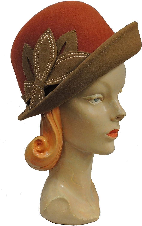 .boutique Zweiton Retro 1920s 1930s 1940s Stil Wollfilz Kurze Krempe Glocke Tag Hut