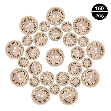 OOTSR 150 piezas madera Hecho a mano con Amor botones, 2 agujeros botones redondos de madera para decoraciones artesanales de costura (15/20 / 25mm)