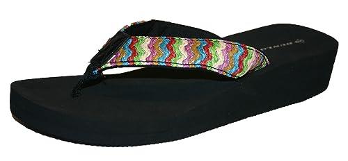 7eafd0aa71ed90 Ladies Dunlop Brown Beige Summer Sandals Flip Flops Casual New Wedge Toe  Post (4 UK