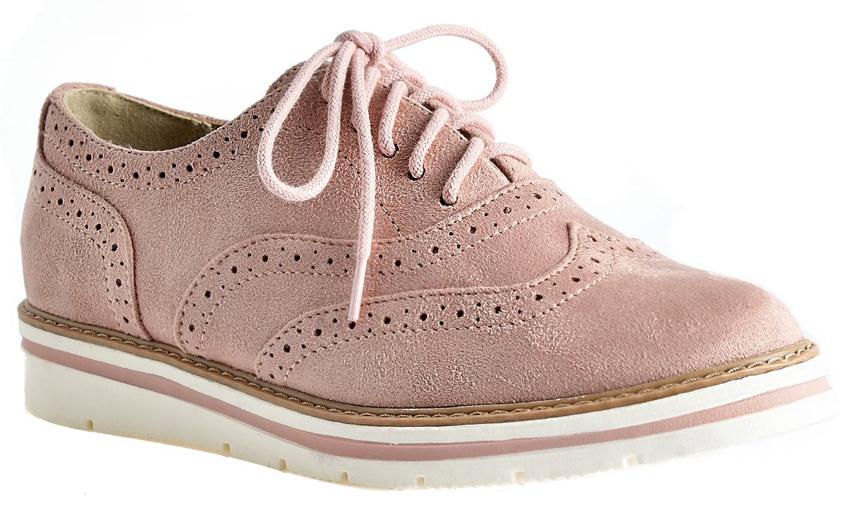 LUSTHAVE Women's Tinsley Lace Up Platform Brogue Trim Oxford Flats Sneakers Loafers Mauve 8.5