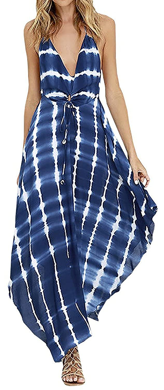 92343ce8ca4 Amazon.com  LUKYCILD Women Summer V Neck Spaghetti Strap Backless Tie Dye Maxi  Dress  Clothing