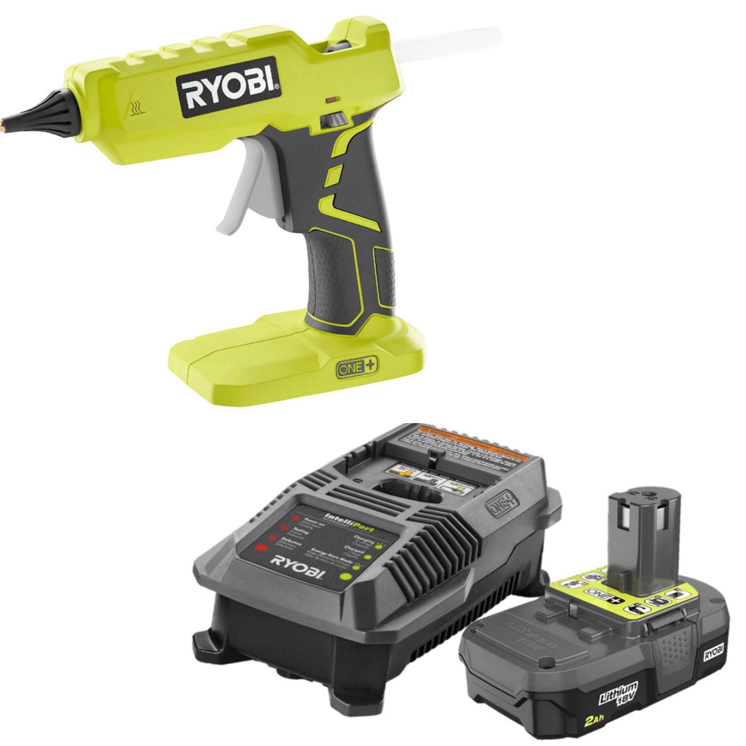 Ryobi Glue Gun P305 with Charger & Lithium-ion battery P163 18-Volt ONE+ 2.0 Ah battery and charger (Certified Refurbished) by Ryobi america corporation