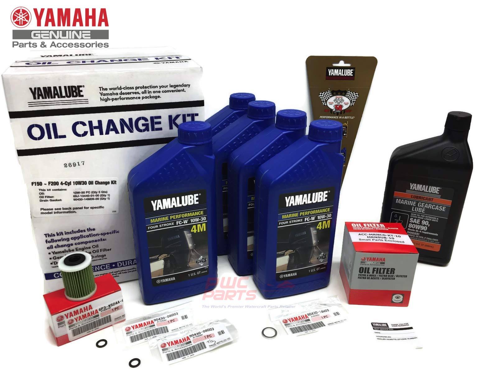 YAMAHA F150 Outboard Oil Change Kit 10W-30 4M Fuel Filter Gear Lube Lower Unit Gaskets Gearcase Maintenance Kit by PWC Parts Co (Image #1)