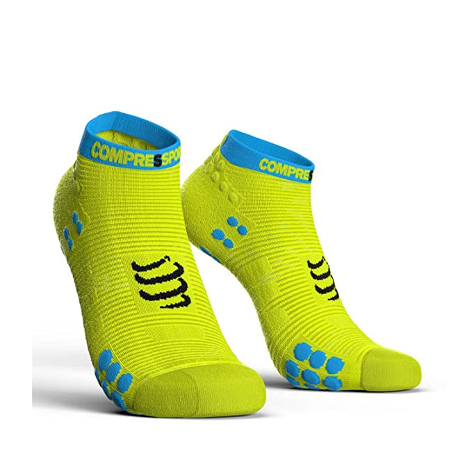 scalesport- Compressport Compress Port proracing Socks V3.0 Run Low Fluo Yellow Calcetines Calcetines Deportivos Correr, Color Amarillo, tamaño T1 (35-38): ...