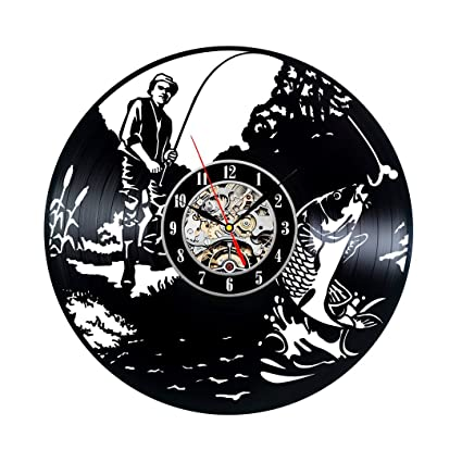 Handmade Vintage Vinyl Record Clock for Fishing Lovers