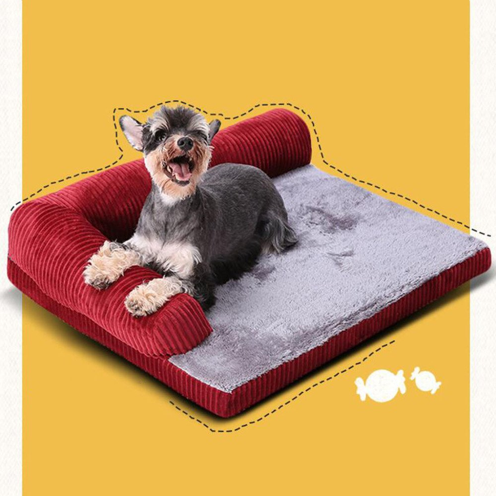 LDFN Dog Pillow Bed Removable And Washable Four Seasons General Large Medium Small Size Dog Mattress Sofa Cushions,Red-XL by LDFN (Image #3)