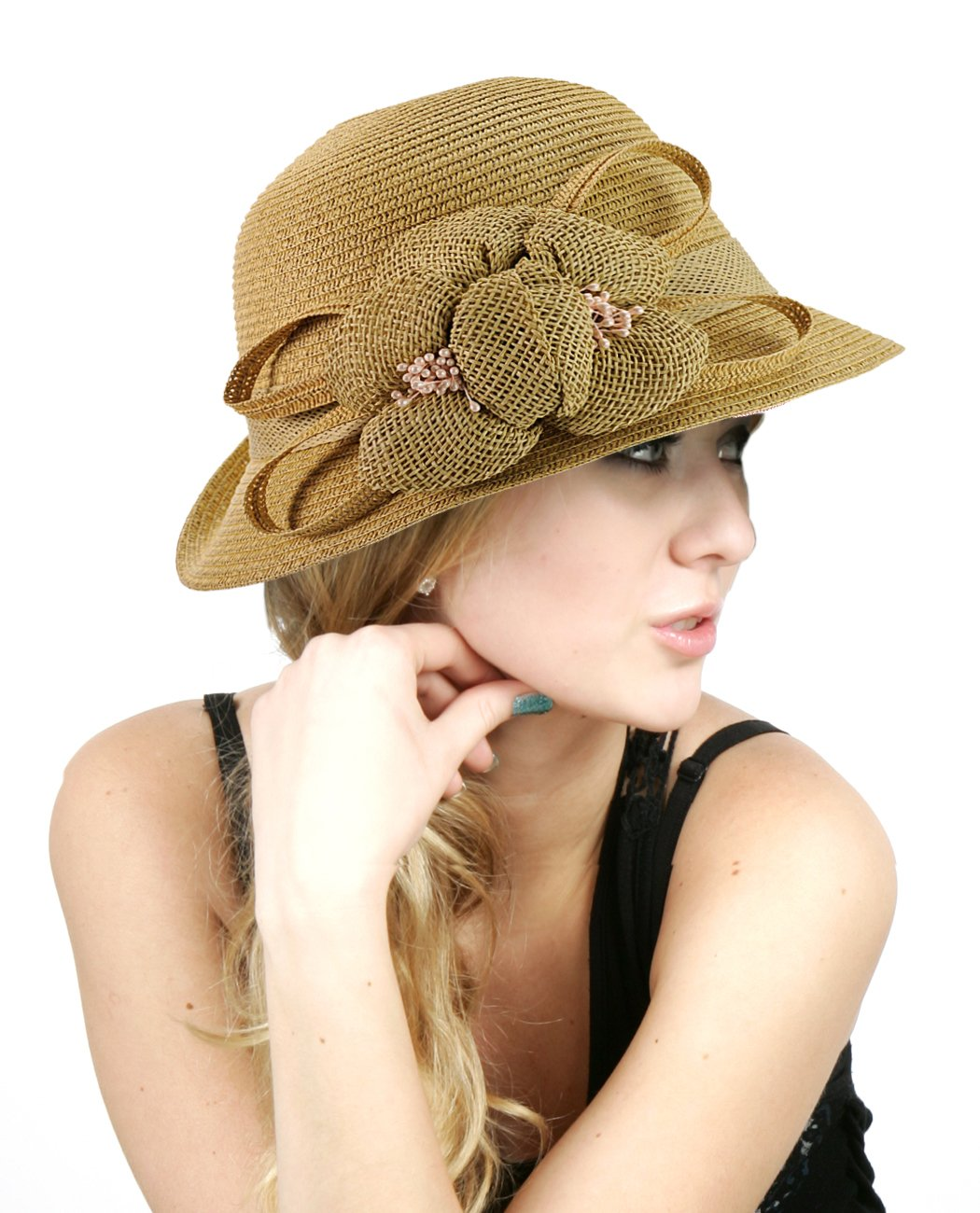 NYFASHION101 Side Flip Cloche Bucket Hat w/Woven Flower & Ribbon Accent, Natural