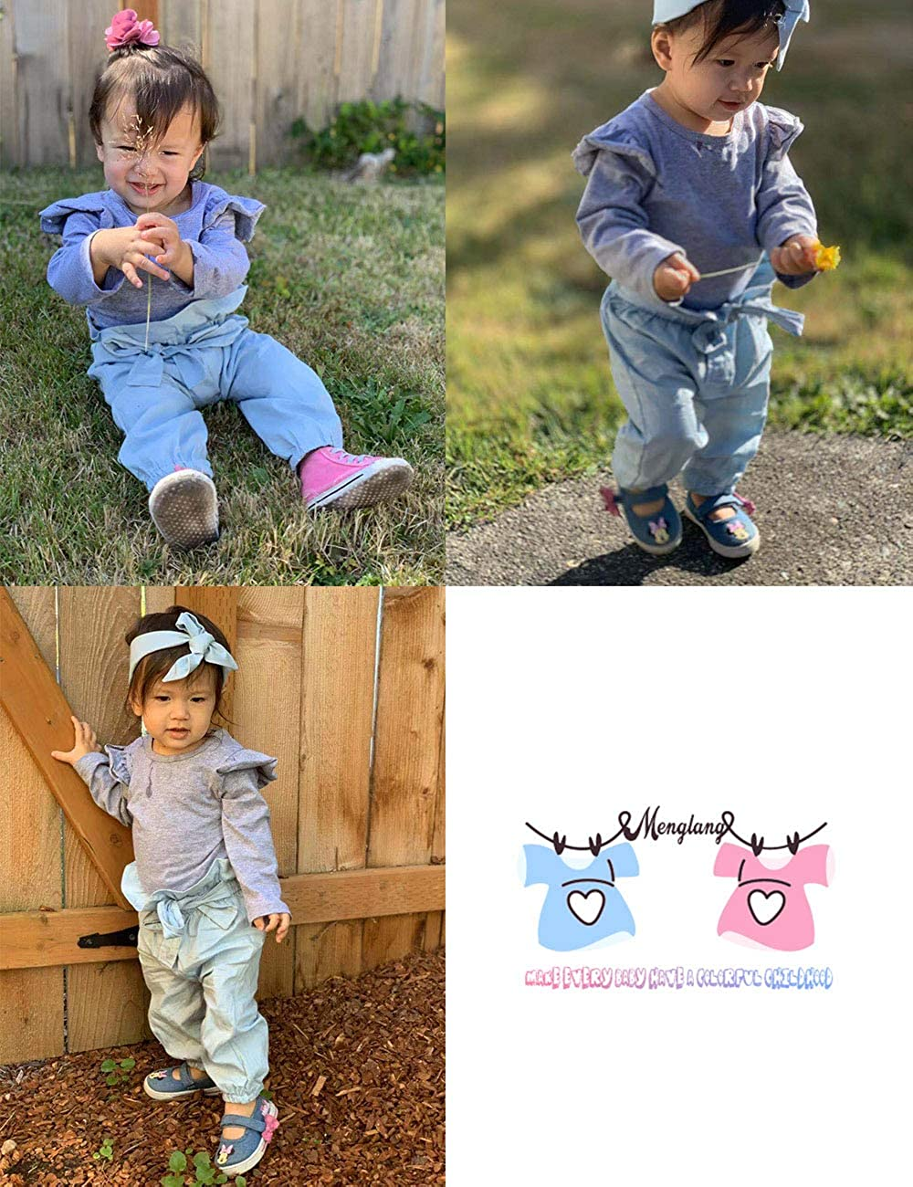 Hat Outfit Sets Floral Pants Headband Newborn Baby Girls Clothes Ruffle T-Shirt