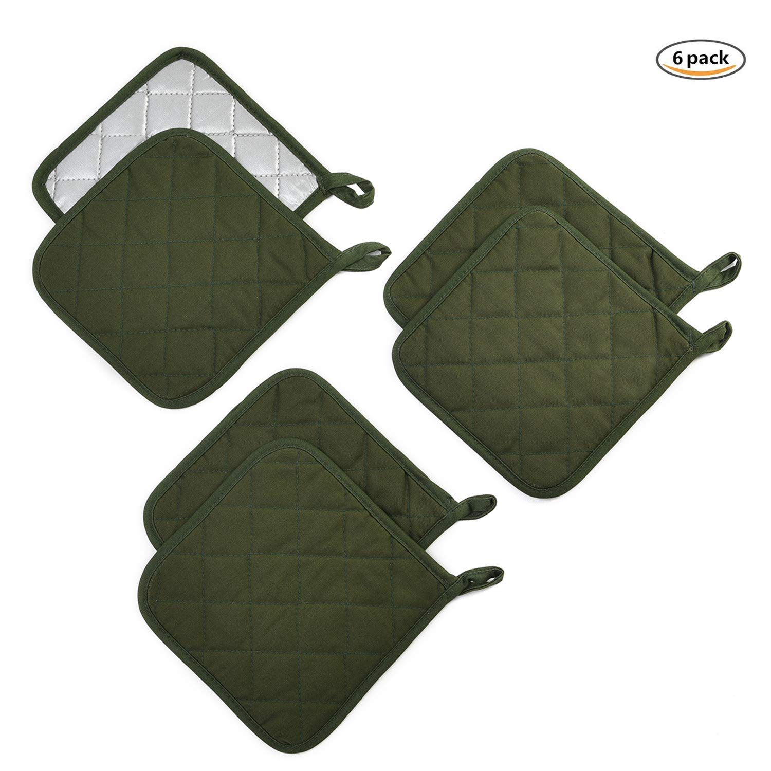 Jennice House Potholders Set Trivets Kitchen Heat Resistant Pure Cotton Coasters Hot Pads Pot Holders Set of 6 for Everyday Cooking And Baking by 7 x 7 Inch (Army Green)