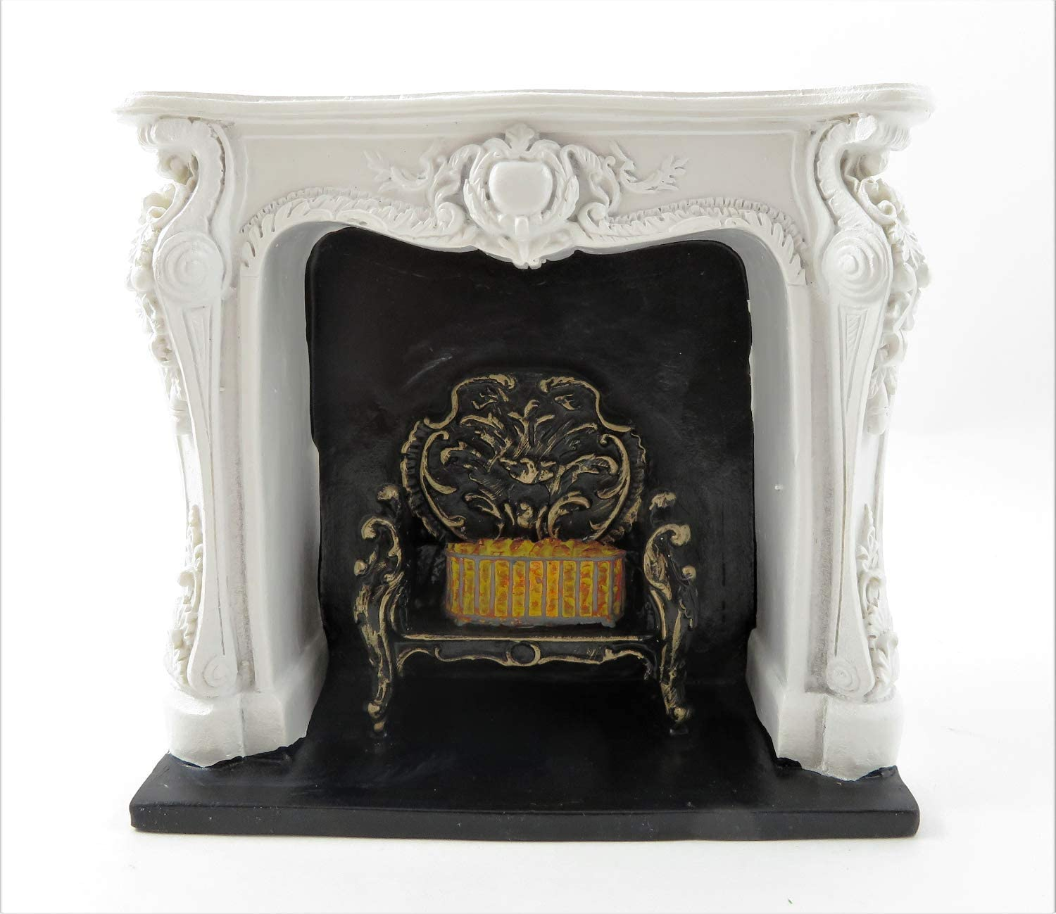 Melody Jane Dollhouse Rococo White Fireplace with Black & Gold Grate Resin 1:12 Furniture
