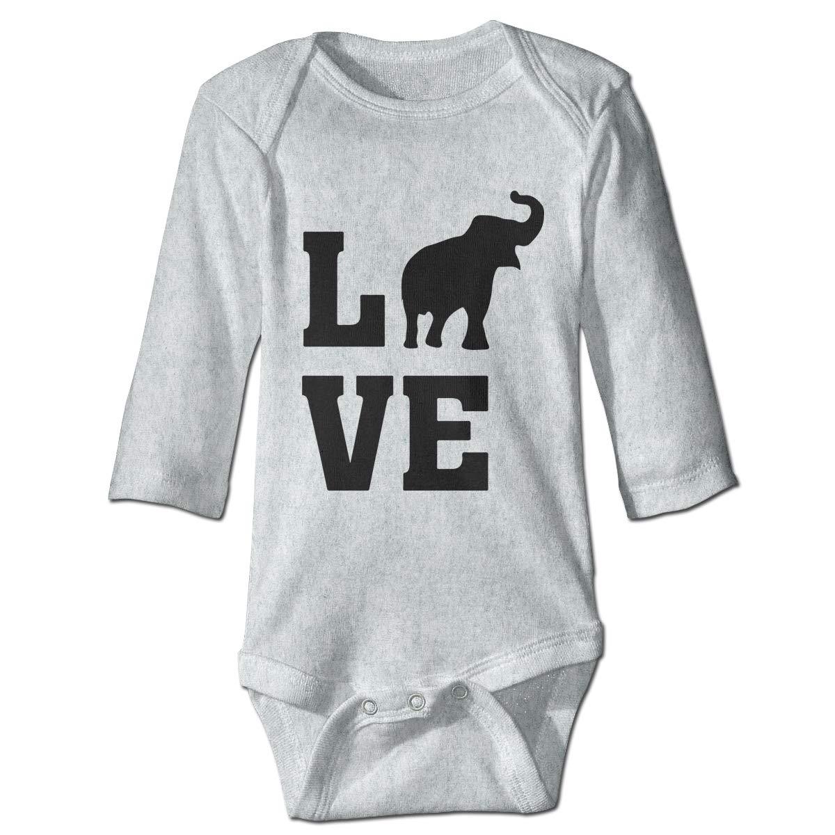 Infant Babys Long Sleeve Climb Romper I Love Elephants-1 Unisex Button Playsuit Outfit Clothes