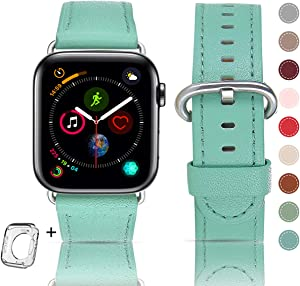 Leather Bands Compatible with Apple Watch Band 38mm 40mm 42mm 44mm, Top Grain Leather Smart Watch Band Compatible for Men Women iWatch Series6/5/4/3/2/1 (Light green + silver buckle, 38mm 40mm)