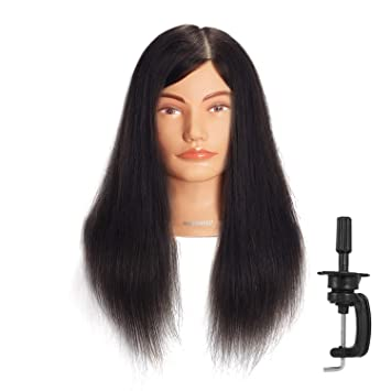 20-22 100/% Human hair Mannequin head Training Head Cosmetology Manikin Head Doll Head with free Clamp Black C