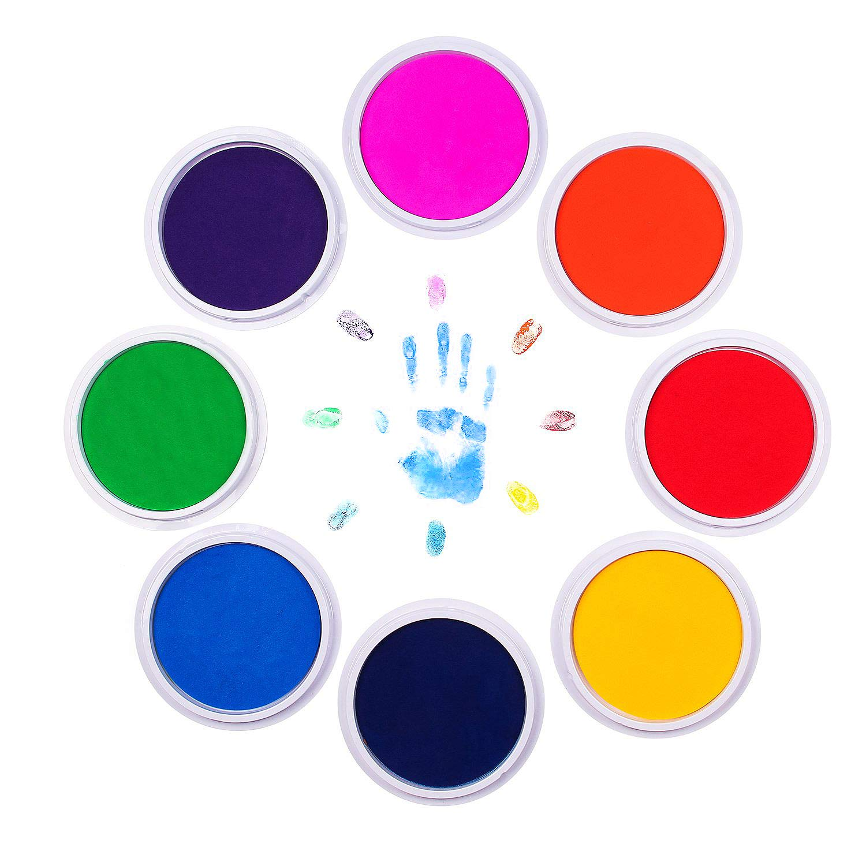 Washable Large Ink Pads for Rubber Stamps Kids Art DIY Set of 8 Colors