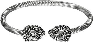 JewelryWe Gioielli da Uomo Braccialetto Acciaio Inossidabile Aperto, Pendente Testa di Leone, Colore Argento Nero (con Borsa Regalo)