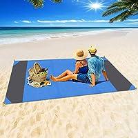 Jodsen Stranddeken, extra grote 200 * 210 cm/78,7 * 82,5 inch draagbare picknick strandmat met 4 pack vast genageld…