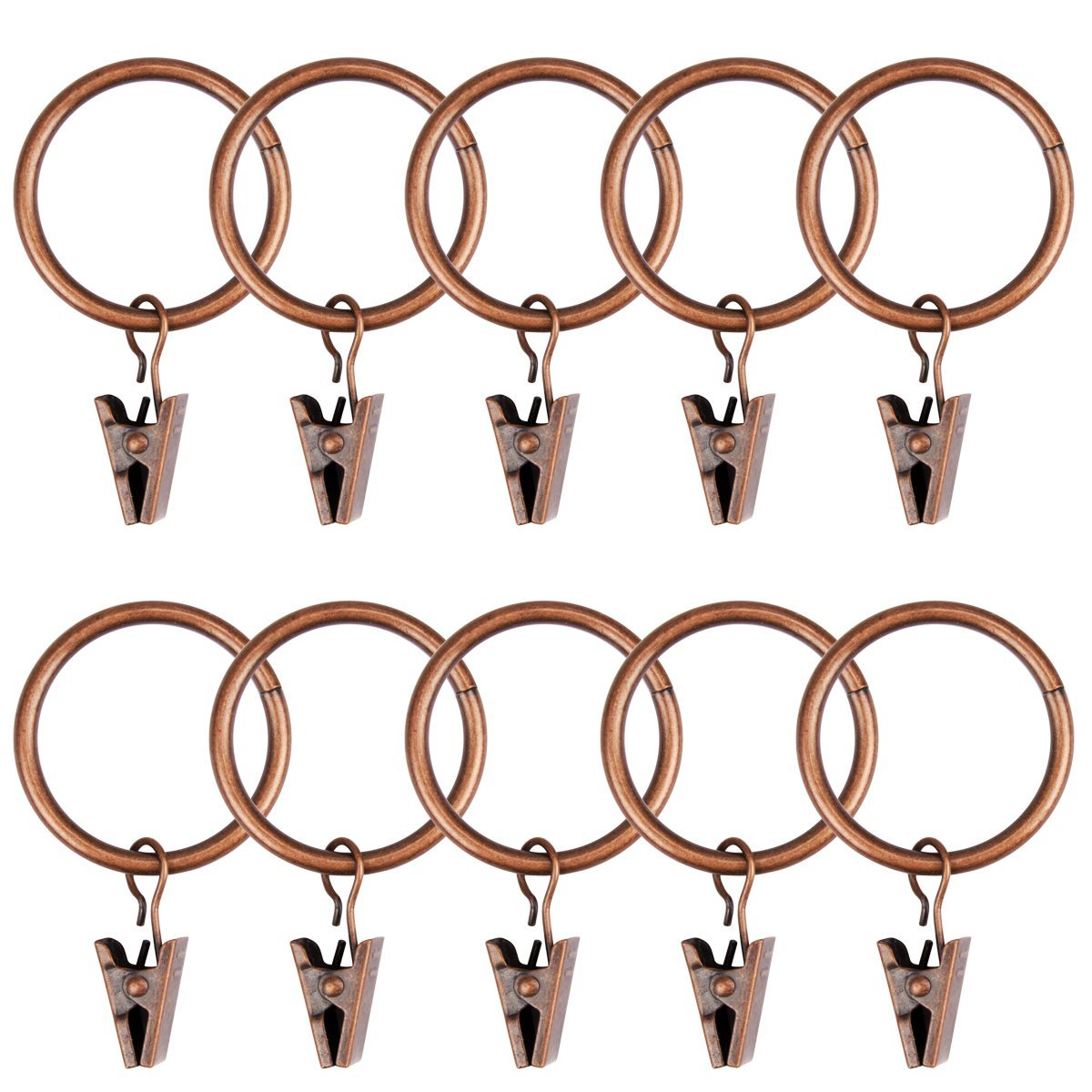 Amariver 40 Pack Metal Curtain Clips Rings, Red Copper Decorative Drapery Rustproof Window Curtain Ring with Clip