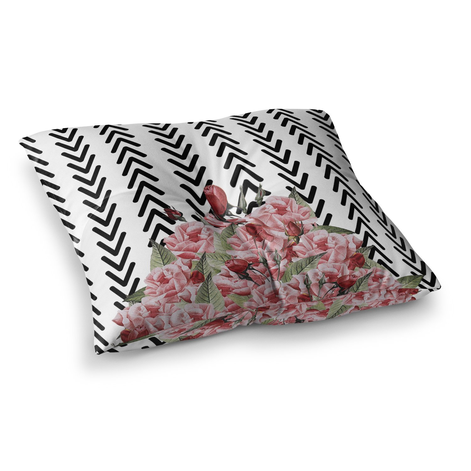 23 x 23 Square Floor Pillow Kess InHouse Tobe Fonseca Spring Pattern Arrow Pink Multicolor Illustration