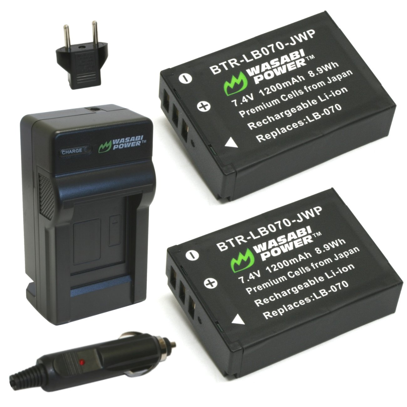 Wasabi Power Battery (2-Pack) and Charger for for Kodak LB-070 and PIXPRO AZ651, S-1
