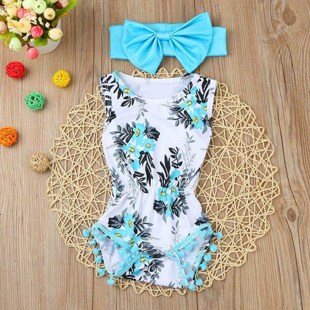 2Pcs Kids Baby Girl Print Romper Jumpsuit Sunsuit+Headband Clothes Toddler Set