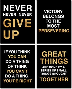 Motivational Historical Quote Motivational Posters,Classroom Office Wall Art Decals,Success Wall Art Inspired by Famous Leaders and Thinkers, 8x10 Inch, Set of 4