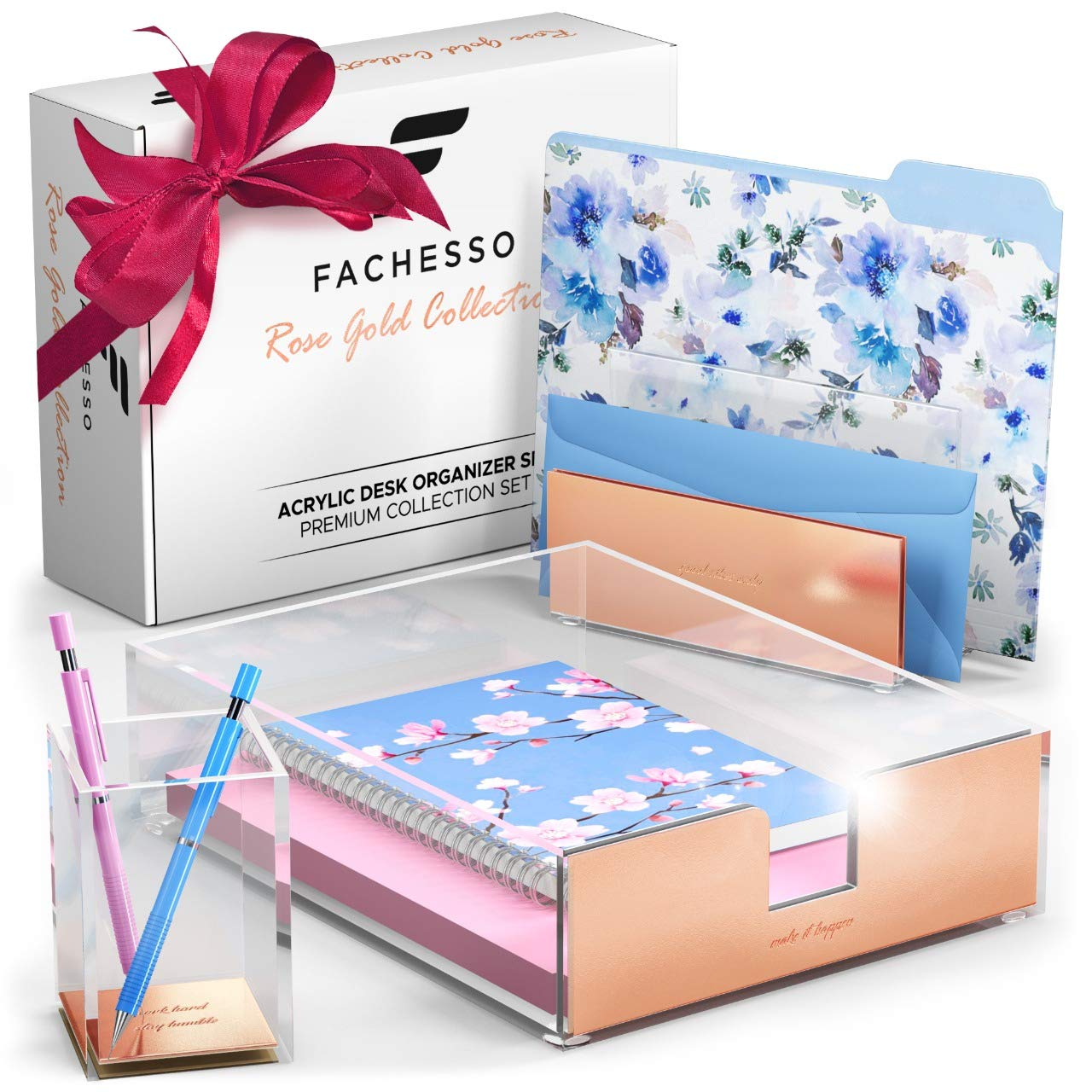 Rose Gold Desk Organizer: 3 Piece Acrylic Desk Organizer Set with Pen Holder, Letter Sorter, Paper Tray - Rose Gold Desk Accessories for Women, Girls - Cute Office Supplies, Decor for Cubicle and Home