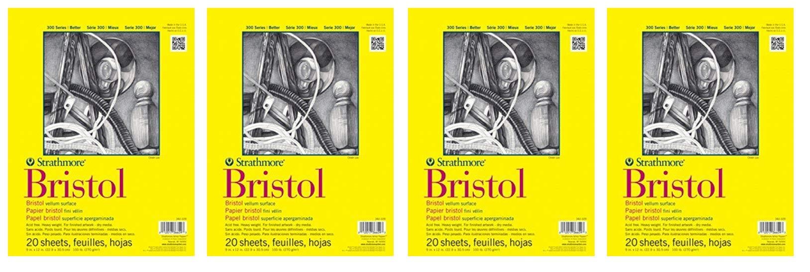 Strathmore (342-119) STR-342-119 20 Sheet Regular Bristol Pad, 19 by 24'', 19''x24'', (Fоur Paсk) by Strathmore