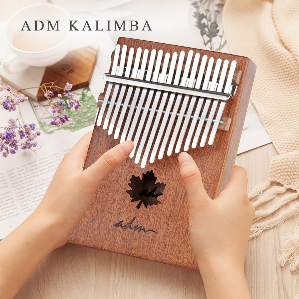 ADM Thumb Piano 17 keys Kalimba African Mahogany Mbira Maple Leaf Sound Hole with Music Book Tune Hammer and Bag by ADM (Image #5)