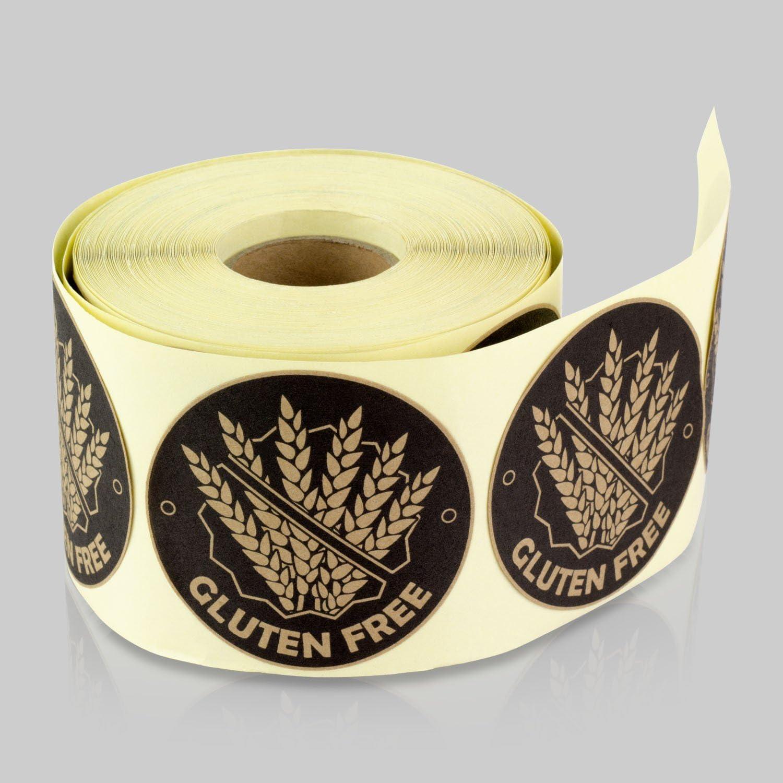 Tuco Deals Gluten Free Sticker, Celiac Warning Label for Food Allergies (2 inch, Brown, 2 Rolls Per Pack)
