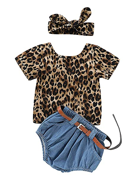 0af5c35ce57e YOUNGER TREE Kids Toddler Baby Girls Shorts Set Leopard Print Backless T- Shirt Tank Top