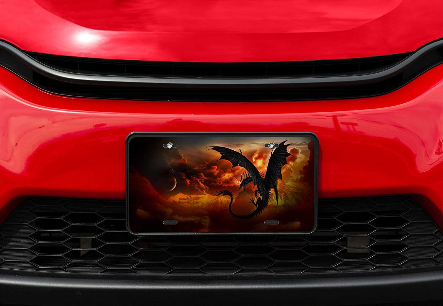 Amcove License Plate Two Dragon Heads in Fire Decorative Car Front License Plate,Vanity Tag,Metal Car Plate,Aluminum Novelty License Plate for Men//Women//Boy//Girls Car,6 X 12 Inch