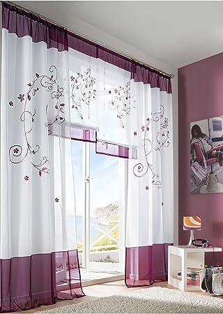 Amazon.de: Souarts Lila Stickerei Transparent Gardine Vorhang ...