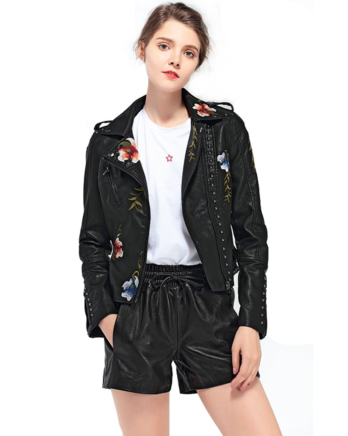 Fitaylor Women's Floral Embroidered Faux Leather Moto PU Jacket Coat (L, Black) by Fitaylor