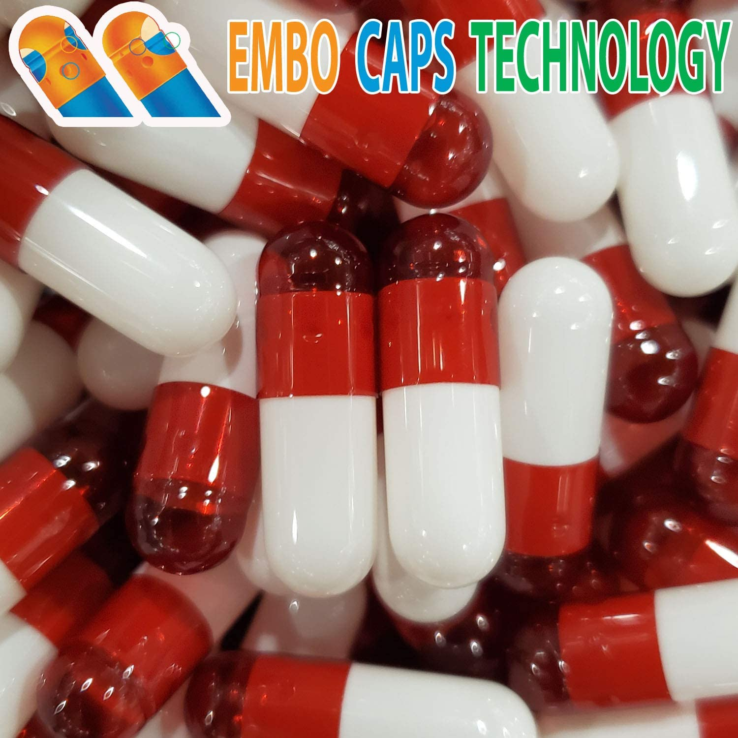 Empty Gelatin Capsules 0 Size - 1000 Count, Red White Color, Premium EMBO Caps Technology, Compatible with Capsule Filling Machine & Capsule Pill Gel Filler by Capsules World