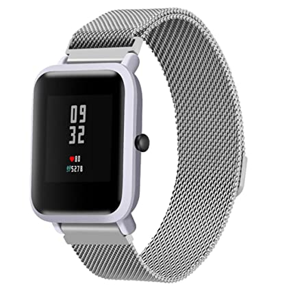diadia Correa de Reloj Deportivo de Acero Inoxidable para Xiaomi Amazfit Bip Youth Watch