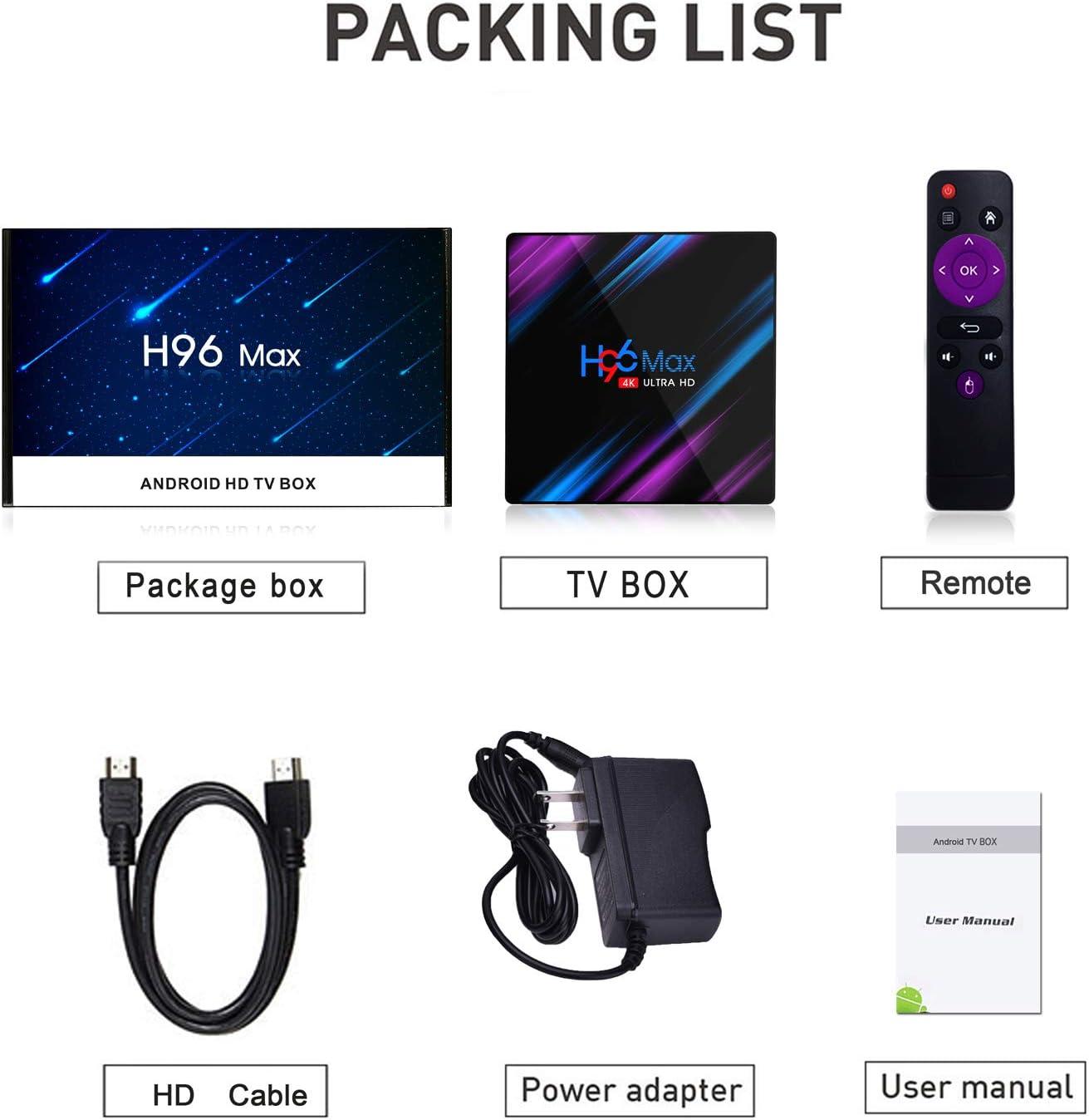 Xilibod H96 MAX TV Box Android 9.0 4GB RAM/64GB ROM, Penta-Core Mali-450 Up to 750Mhz+, RK3318 Quad-Core 64bit Cortex-A53, H.265 Decoding 2.4GHz/5GHz WiFi Smart TV Box: Amazon.es: Electrónica