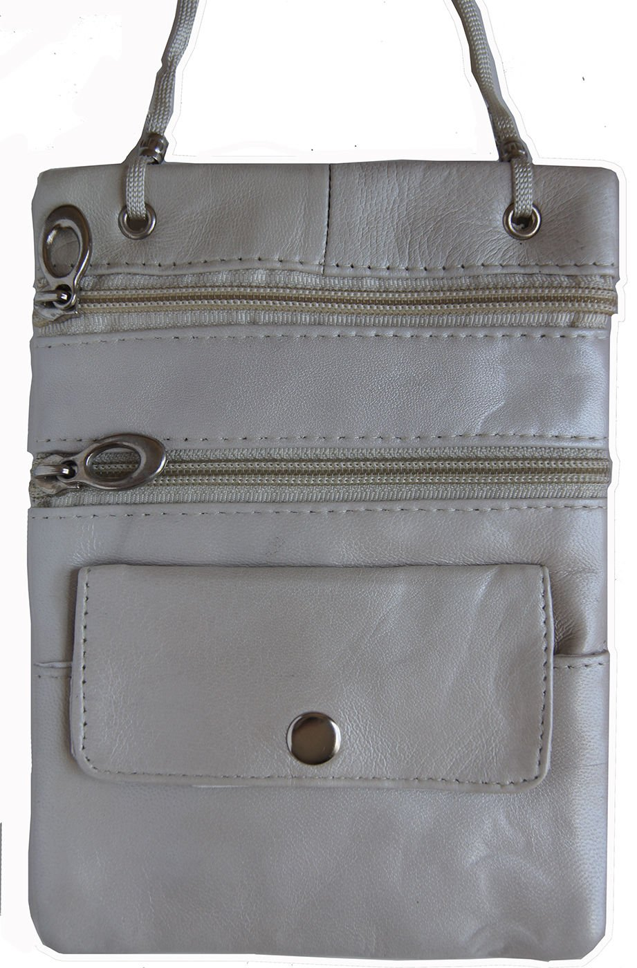 Pearl Genuine Leather Passport Id Documents Holder Neck Travel Pouch Bag