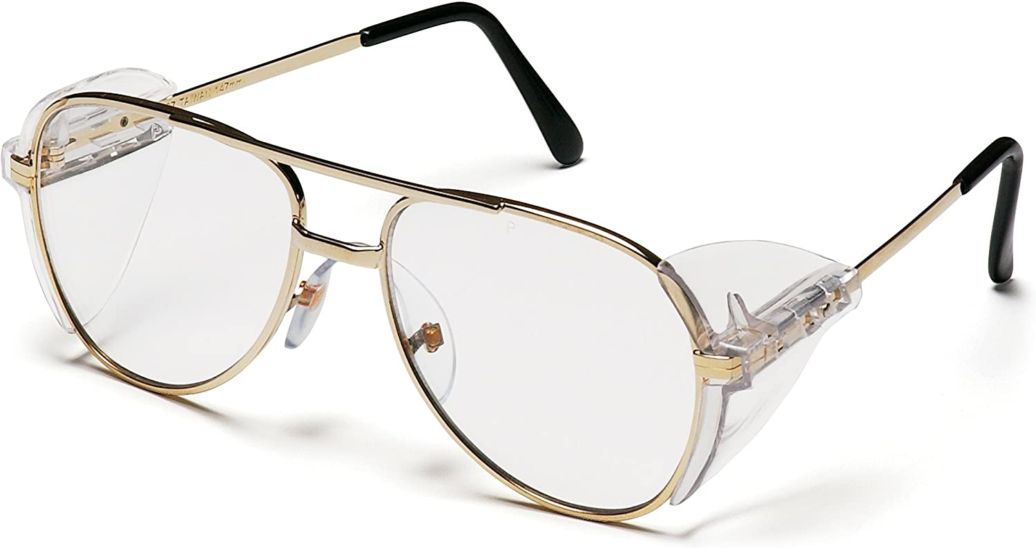 Pyramex Pathfinder Aviator Safety Glasses with Gold Frame and Clear Lens: Sports & Outdoors