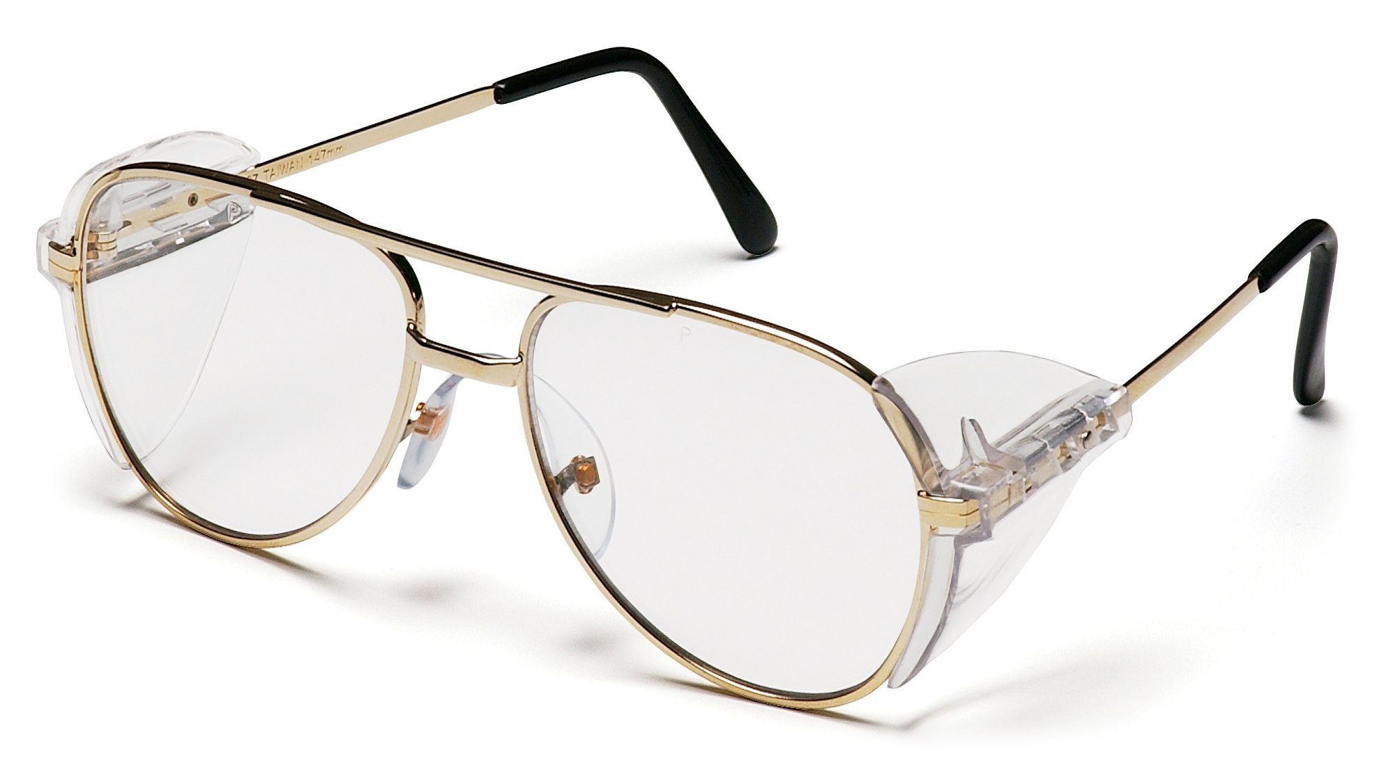 Pyramex Pathfinder Aviator Safety Glasses with Gold Frame and Clear Lens