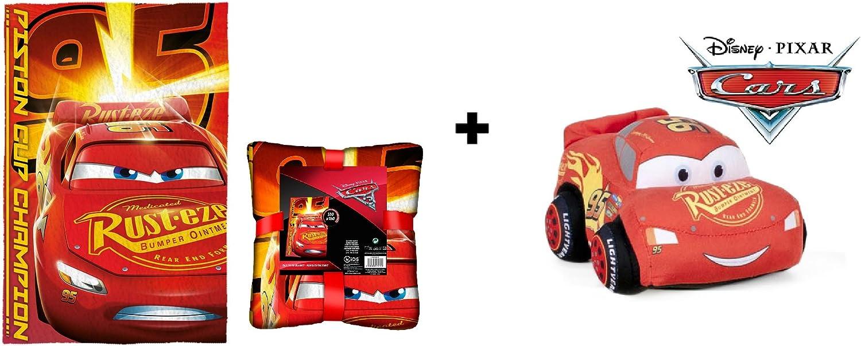 Cars - Pack Manta Polar 100*150 Extra Suave + Peluche Coche Rojo Rayo Mcqueen 24cm Calidad Velboa: Amazon.es: Juguetes y juegos