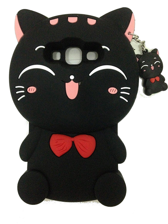 68f78d9f172 Gato de la suerte Galaxy J3 Caso, Galaxy j3 V Caso, skmy 3d Kitty con lazo  de Tie goma de silicona teléfono celular carcasa para Samsung Galaxy J3/j3 V,  ...