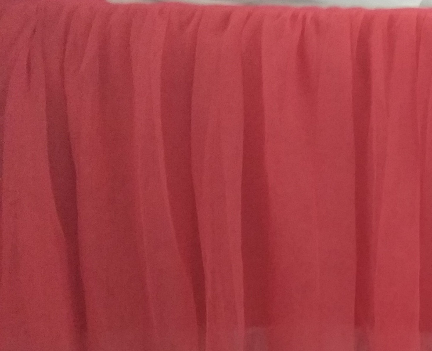 Coral Chiffon Ruffle Lined Crib Skirt 16 Inch Drop 3 Sided