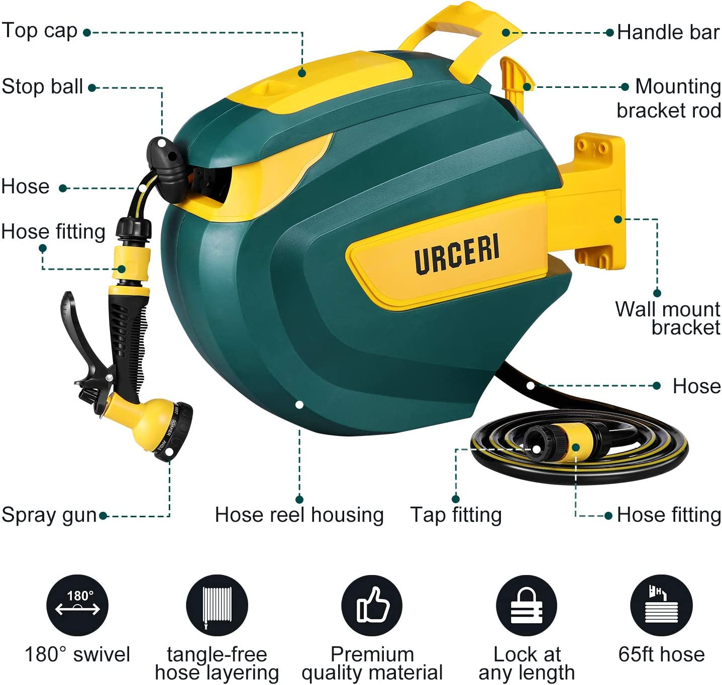 URCERI Garden Hose Reel Wall Mounted Compact with 20m//65ft Hose /& Auto Rewind UK