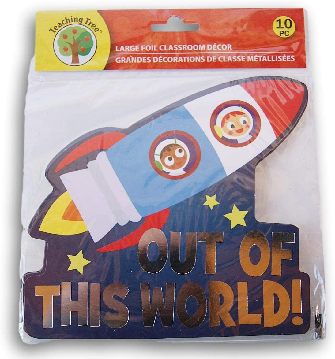 Rocket Ship ''Out of This World!'' Classroom Decor Foil Paper Cut-Outs - 10 Count