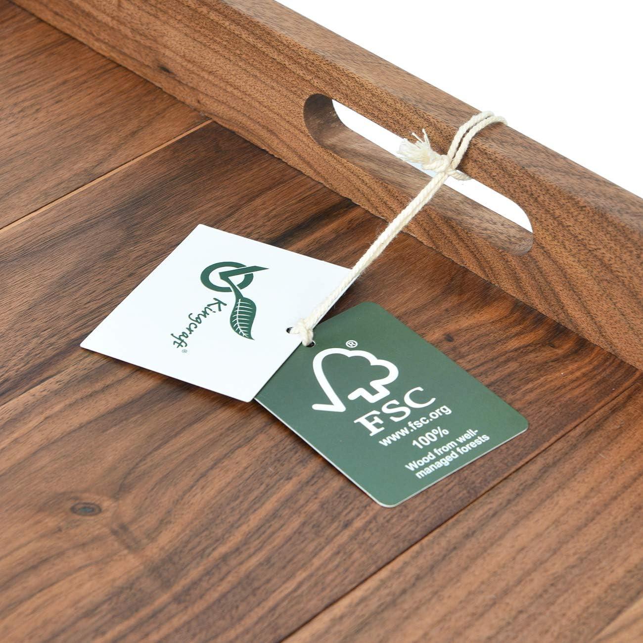 Ottoman tray wood with handles walnut 24 x 24 extra large serving tray walnut