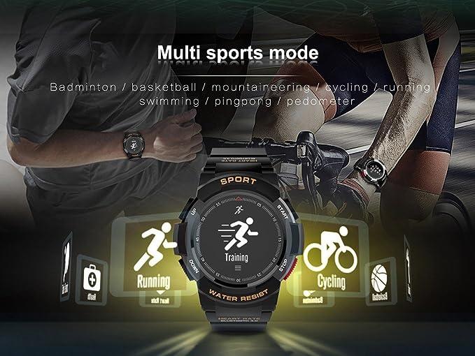 No. 1 F6 Reloj Inteligente IP68 Resistente al Agua Bluetooth Reloj, con GPS Monitor de sueño Remoto cámara, para Hombres, Compatible con iOS y Android ...