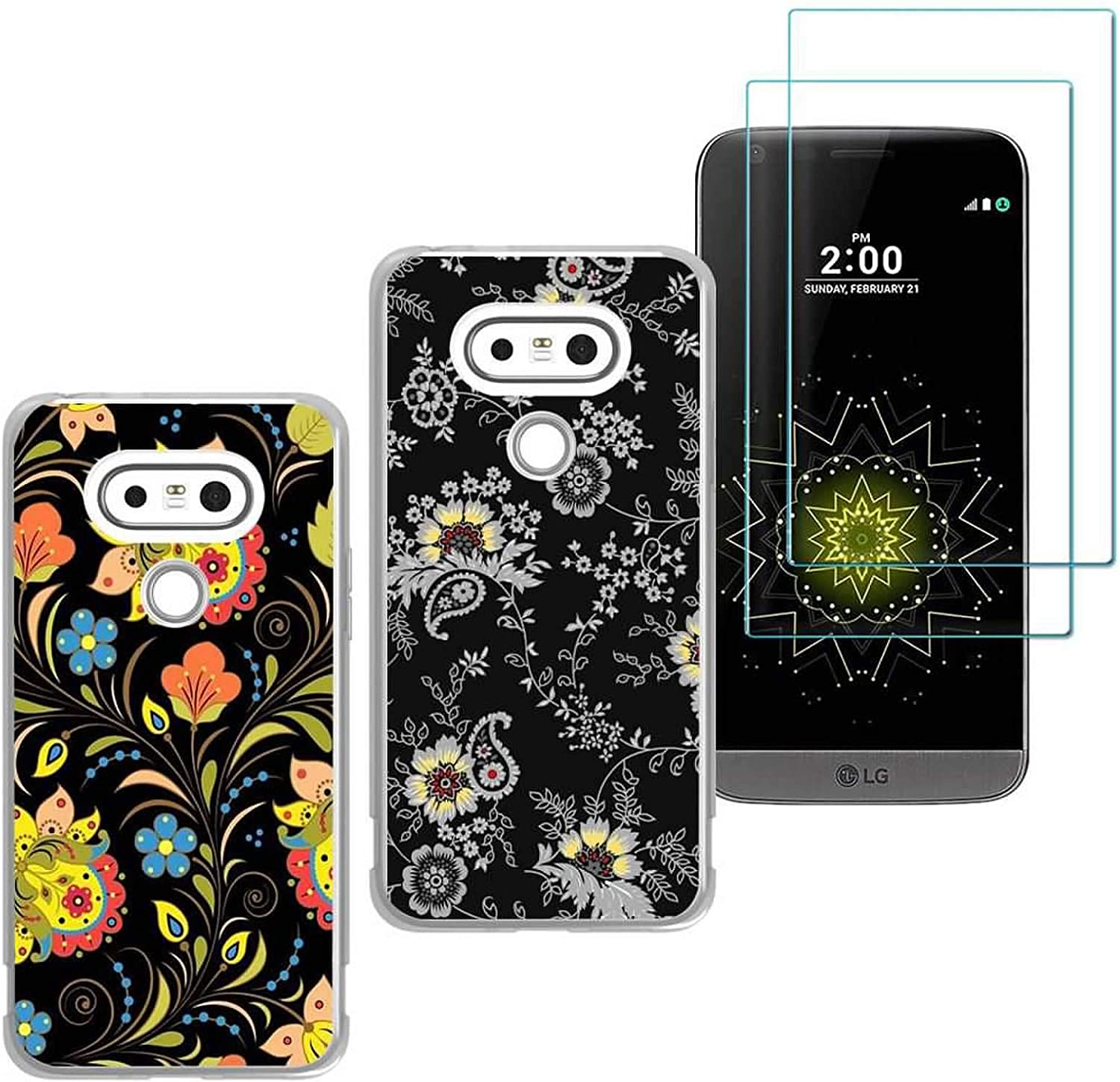 2 X LG G5 Case with 2 Pack Glass Screen Protector Phone Case for Men Women Girls Clear Soft TPU with Protective Bumper Cover Case for LG G5