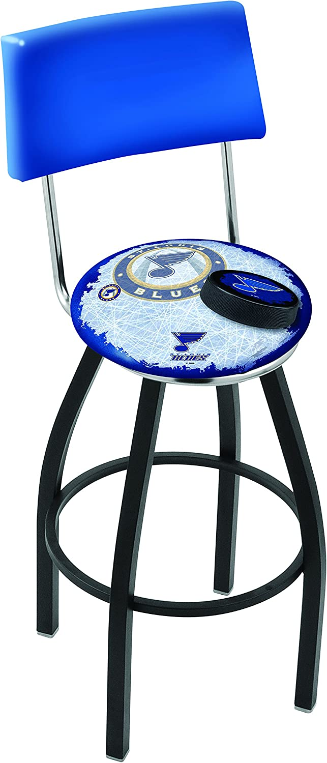 L014-25 Black Wrinkle St Louis Blues Swivel Bar Stool with Ladder Style Back by The Holland Bar Stool Co